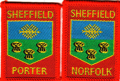 Boy Scout Badges SHEFFIELD NORFOLK + Ext PORTER DISTRICTS red