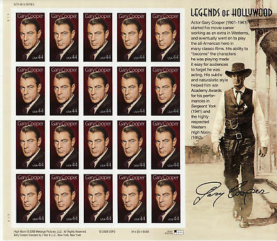 Gary Cooper Stamp Sheet --  Usa, #4421 44 Cent 2009 Legends Of Hollywood