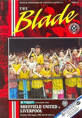 SHEFFIELD UNITED v LIVERPOOL Division 1 programme 25 August 1990