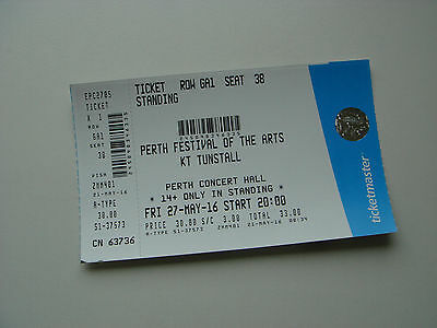 KT TUNSTALL PERTH CONCERT HALL MAY 27th 2016 TICKET