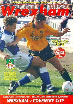 WREXHAM v COVENTRY CITY Coca Cola Cup 2nd round 1st leg 20 September 1994