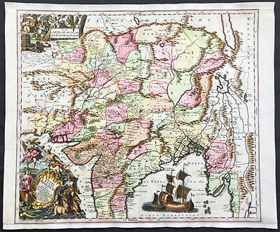 1740 Seutter Large Old, Antique Map of India, Mughal Empire, Tibet, Nepal
