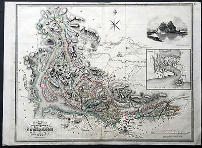1841 Johnston Large Antique Map of the County of Dumbarton, Scotland - Glasgow