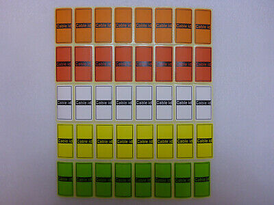 5 Colours = 35 Cable id Tidy Labels Self Adhesive Sticky Identification Stickers