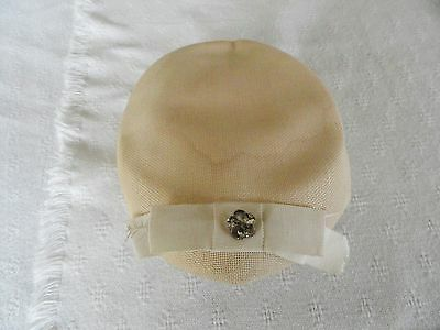 Vintage Cream Feather and Faux Stone Clamper Style Hat