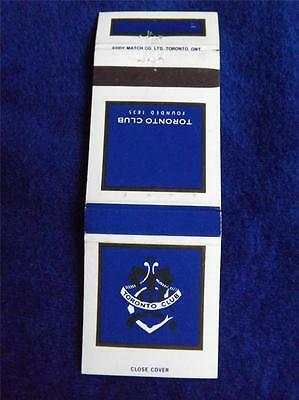 Toronto Club Founded 1835 Private Exclusive Mens Club Matchbook Ont Canada