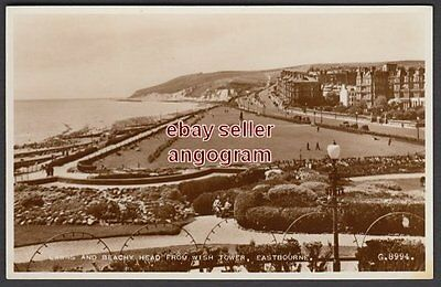 SUSSEX REAL PHOTO POSTCARD - Lawns and Beachy Head from Wish Tower, Eastbourne.