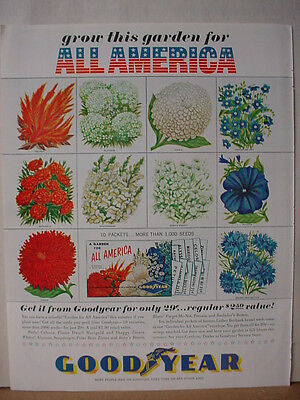1962 GoodYear Tire Garden for America Flower Seed Offer Vintage Print Ad 10604