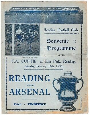 1934/35 Reading v Arsenal FA Cup original match programme