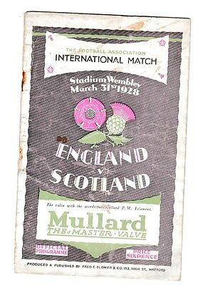 "1928 England v Scotland Programme ""The Wembley Wizards"" plus songsheet"