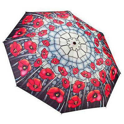 Galleria Ladies Auto Folding Boxed Umbrella - Stained Glass Poppies