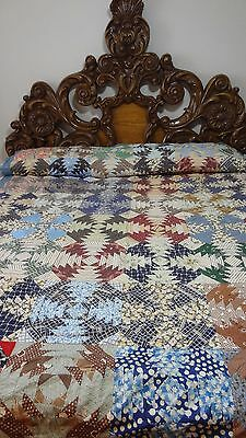 Awesome Vintage 1800's Colonial Pineapple Quilt Top #H1076