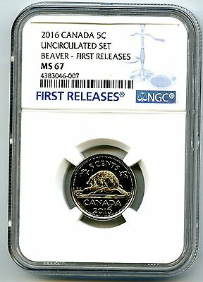 2016 Canada 5 Cent Nickel Ngc Ms67 First Releases Proof Like Rare Low Pop=8
