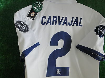 Real Madrid Champions League Home Shirt ** Carvajal **  2016-17 Bnwt Size Large
