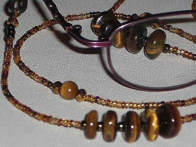 "Beaded Eyeglass Chain~Tigers Eye w/ Amber Mix~NEW~Fancy Ends~28""~BUY 3 SHIP FREE"