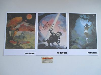Lot Of 3 Autographed Wolfmother Album Cover Prints Frazetta 2007 + Signed Ticket