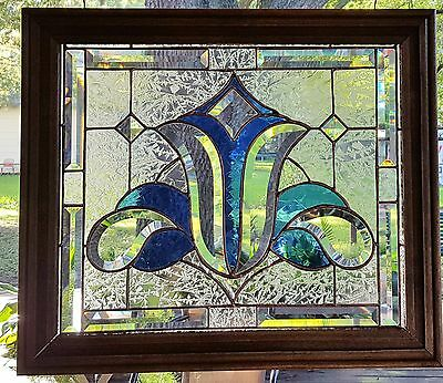 Stained Glass Window Art Panel Sun Catcher Cobalt Blue & Bevels Tiffany Style
