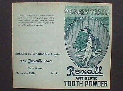 GREAT antique Rexall TOOTH POWDER advertising flyer PEARLY TEETH
