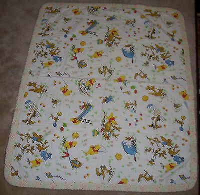 Vintage Disney Productions WINNIE THE POOH Baby Nursery Crib Quilt Blanket