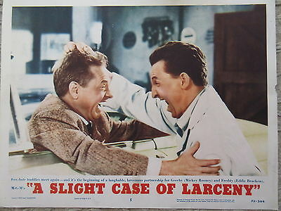 Old Original Vintage 1953 Movie Lobby Card  Slight Case of Larceny Mickey Rooney
