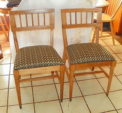 Pair of Retro Solid Oak  Mid Century Sidechairs / Dinette Chairs  (BM-SC178)