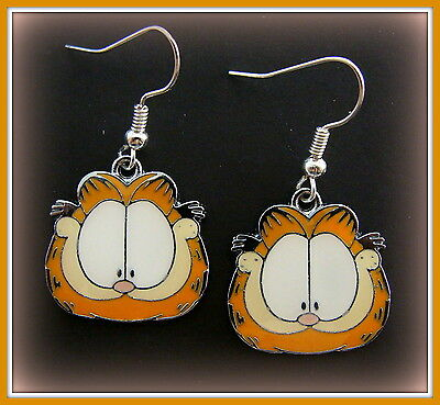 "EARRINGS: ""Garfield the Cat"" Jewelry - enameled Garfield"