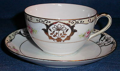 RP420 Nippon Tea Cup & Saucer Hand Painted Roses Gold Trim