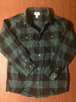 Old Navy boys L 10-12 flannel plaid shirt long sleeved Black And Green