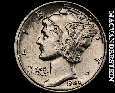 1942 Mercury Dime- Brilliant Uncirculated !! Luster !! #o7925