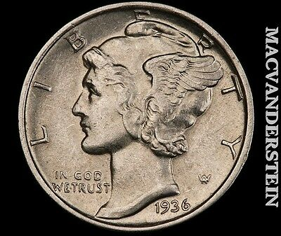 1936 Mercury Dime- Scarce !! High Grade !! Luster !! #q2383