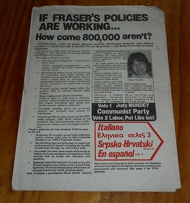 CPA Communist Party of Australia election broadsheet ( advert 1980's Judy Mundey