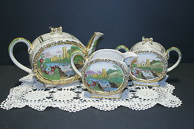 Vintage Sadler Abbey Falls Teapot, Creamer, Sugar SET Barrel Shape
