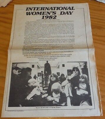 International Women's Day 1982 Broadsheet ( political left wing Labor ALP )