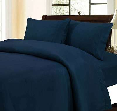 1000 Thread Count 100% Egyptian Cotton 1000 TC Bed Sheet Set CAL KING Navy Solid