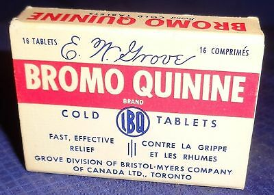 ML292 Vtg Grove Div Of Bristol Myers Co Bromo Quinine Cold Tablets Pills Box