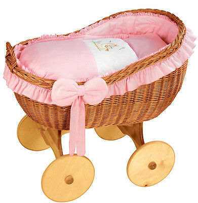 Wicker Crib Moses Basket Bianca Uno PINK (Cot Bed)  MJMARK