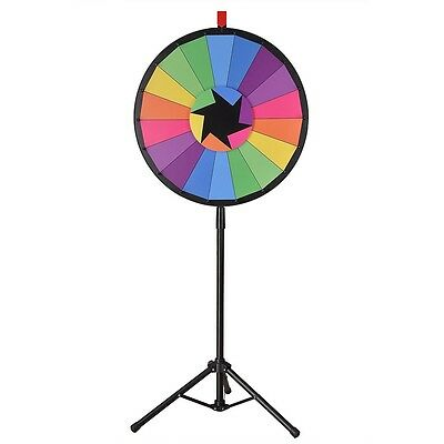 "WinSpin™ 24"" Color Prize Wheel 18 Slot Floor Stand Tripod Spin Game Tradeshow"