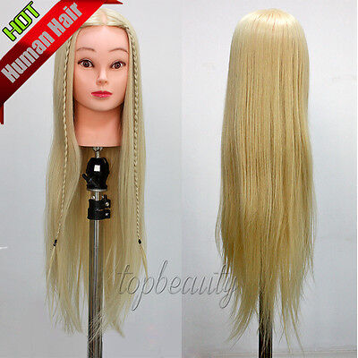 """26"""" Hairdressing Training Head 100% Synthetic Hair Mannequin Doll + table clamp"""