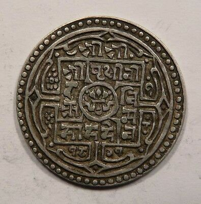 Nepal King Prithvi Bikram Silver Mohar coin dated 1899 NICE Clear Date