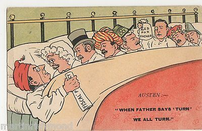 When Father Says Turn, We All Turn, Fiscal Policy Comic Postcard, B535