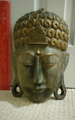Vintage Wooden Hand Carved Buddha Wall Plaque/Mask Great Condition Tribal Art