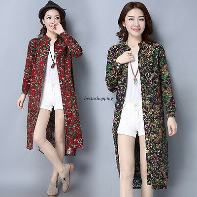 Ethnic Womens Floral Cotton Linen Long Button Down Blouse Shirt Tops Cardigan
