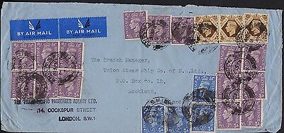 Great Britain 1948 Air Mail Cover to NZ good franking