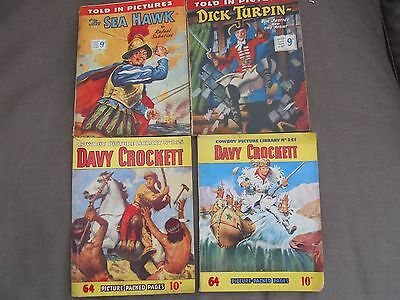 4 Picture Library Comics, 2 Davy Crocket, 1Sea Hawk, 1 Dick Turpin.
