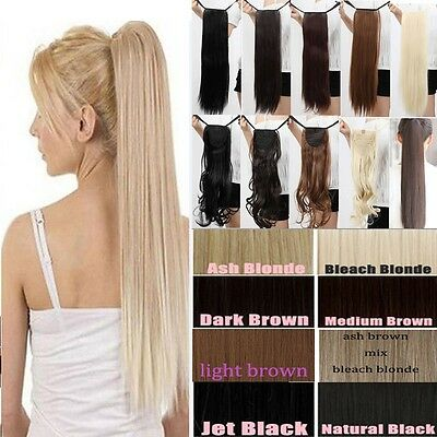 120G Thick Banding Ponytail Clip in human Hair Extensions Real Synthetic Hair AU