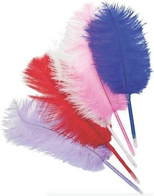 NEW 1or5 GENUINE OSTRICH FEATHER QUILL BALL POINT PEN BLACK PURPLE PINK BLUE RED