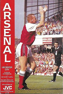Football Programme ARSENAL v LEICESTER CITY Oct 1991 FLC