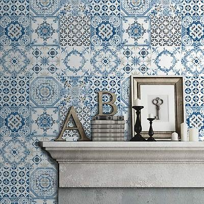 Blue Tiles Wallpaper - Muriva J95601 - New Kitchen Bathroom Moroccan
