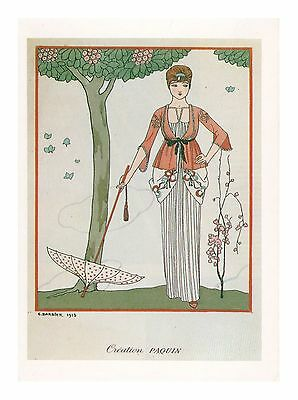Jeanne Paquin French French Art Deco Illustrator George Barbier Modern Postcard