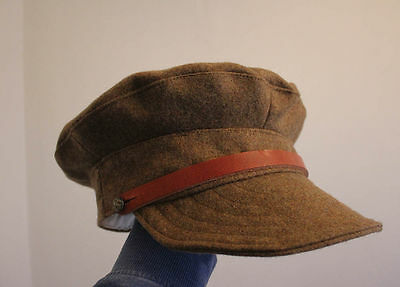 Reproduction WW1 British Soldier Trench cap with leather strap hat helmet wool